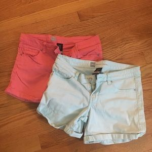 2 PAIRS Mossimo Shorts Coral & Light Blue